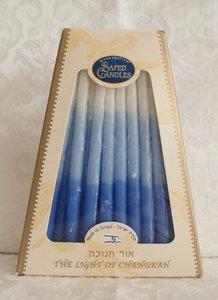 Chanukah kaarsen (Kosher) blauw/wit