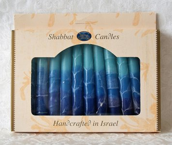 Shabbats kaarsen, kosher en handgemaakt in Safed verpakt per 12 stuks. Blauw/Wit