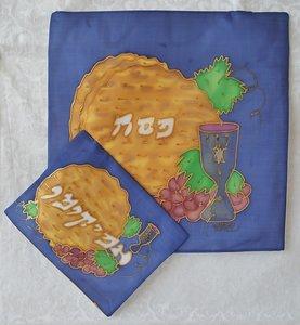 Set van Matze en Afikoman cover van Yair Emanuel (100% zijde) hand-beschilderd met matzes, bittere kruiden, druiven en een kiddush beker voor de wijn