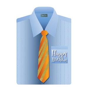Felicitatiekaart, met Hebreeuws/Engelse tekst in de vorm van een overhemd met 3D stropdas voor een verjaardag (man)