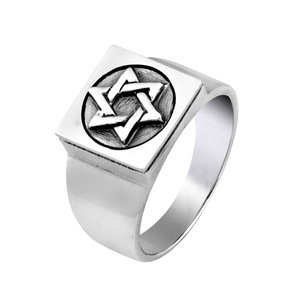 Ring zilver, prachtige zware Zegelring met Davidster voor heren uit de Rafael Jewelry Collectie