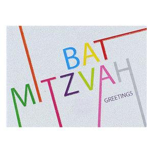 Felicitatiekaart, vrolijke met grafische letters en glitters met Hebreeuws/Engelse tekst voor een Bat Mitswa (dochter der wet)