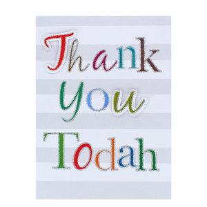 'Thank you, Todah' kaart, hartelijk dank kaart met de tekst in vrolijke kleuren