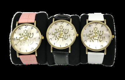 Mooi goudkleurig Horloge met Hebreeuwse cijfertekens en de Hebreeuwse tekst Shema Yisrael... (Hoor Israel...), zowel geschikt voor heren als voor dames met leren polsband in kleur naar keuze