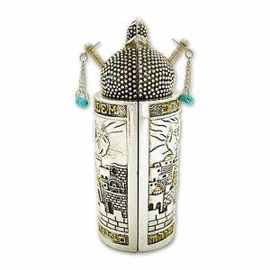 Torah Rol, Sefardische Torah rol replica verzilverde uitvoering met goudkleurige accenten en Jeruzalem design