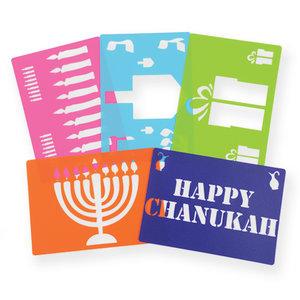 Sjablonen met Chanukah items, pakketje van 5 sjablonen met plastic Chanoeka sjablonen voor allerlei doeleinden