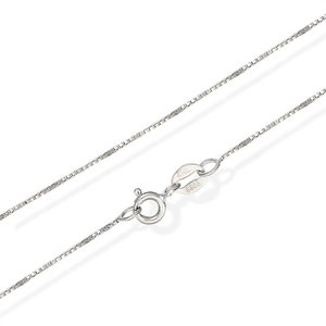 Collier / Ketting, Zilveren basis ketting met Venetiaanse schakeltjes van 1 mm leverbaar in verschillende lengtes