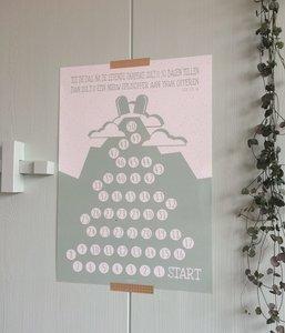 Omer aftelposter / kalender van Ahavah design met zilverkleurige stickers om de 50 dagen vanaf Pesach tot Sjavoe'ot te tellen
