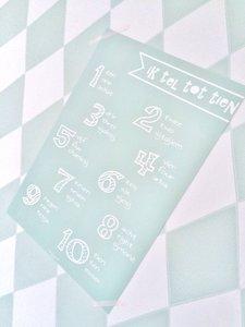 Poster / wanddecoratie A4 van Ahavah design 'ik tel tot tien' in het Nederlands, Engels, en Hebreeuws fonetisch mintgroen