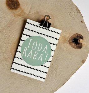 Cadeaukaartje met Toda Raba (Hartelijk dank) in mintgroen van Ahavah design