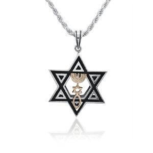 Davidster hangertje van zilver met gouden (9 Kt) Messiaans Zegel aan een bijpassende zilveren ketting uit de Rafael Jewelry Collectie