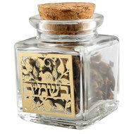 Besamim kruiden, mooi glazen potje met kruiden voor de Havdalah viering, inclusief Havdalah kruiden