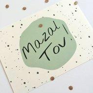 Ansichtkaart Mazal Tov (Gefeliciteerd) mint met stippen design van Ahavah design