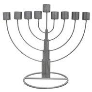 Chanukah Menorah / Chanoekia van aluminium in ronde vormgeving 24cm hoog en geschikt voor normale diner- of huishoudkaarsen