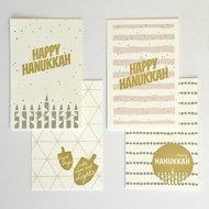 Cadeaukaartjes / Minikaartjes Chanoeka / Chanukah set van 4 van Ahavah design