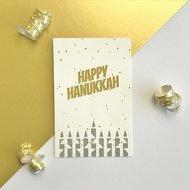 Cadeaukaartje / Minikaartje voor Chanoeka / Chanukah met  blauw/grijze Chanoekia en de tekst Happy Chanukah van Ahavah design