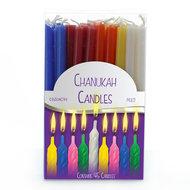 Chanukah / Chanoeka kaarsen (kosher) in een mix van vrolijke kleuren, 45 kaarsjes in een doosje