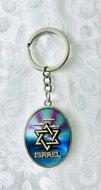 Sleutelhanger, luxe zilverkleurige sleutelhanger met goudkleurige Davidster in blauw met parelmoerglans