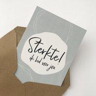 Heb Lief Kaart met envelop van Ahavah design met Sterkte, ik bid voor jou in grijs/wit