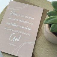 Heb Lief Kaart met envelop van Ahavah design met Wees in geen ding bezorgd in vergrijsd roze