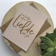 Heb Lief Kaart met envelop van Ahavah design met Een beetje extra liefde voor jou in vergrijsd roze
