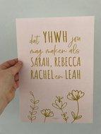Poster / wanddecoratie A4 van Ahavah design met de zegen voor de meisjes
