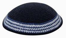 Keppeltje / Kippah navy gehaakt van katoen met fantasierand in blauw/wit
