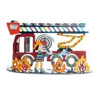 Chanukah Menorah, Chanoekia van Yair Emanuel met de brandweer, handgemaakt en beschilderd met vrolijke kleurtjes