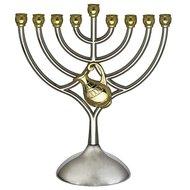 Chanukah Menorah / Chanoekia, schattig kandelaartje van zilverkleurig metaal met goudkleurige accenten