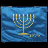 Tallit / Talliet tasje van donkerblauw fluweel met borduursel van de Menorah en het Hebreeuwse woord Tallit in gouddraad