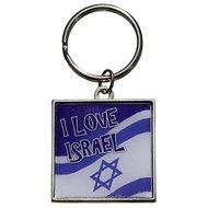 Sleutelhanger vierkante zilverkleurige met blauw/witte sleutelhanger met de Israëlische vlag en 'I love Israël'