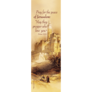 Boekenlegger 'David Roberts' van duurzaam PVC met Psalm 122:6 in het Engels en een print van Roberts' werk &#039