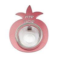 Mini honingpotje / zoutschaaltje van Yair Emanuel, uitgevoerd in rood metaal in de vorm van een Granaatappel met de tekst: Shab