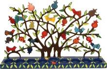 Chanukah Menorah, Chanoekia 'Levensboom' van Yair Emanuel voor waxinelichtjes. Grote kandelaar van 46 x 30 cm