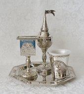 Havdalah / Havdalla Set, 4 delig van nikkel met mooi Jerzalem dessin