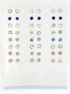 Zilveren Oorknopjes kleine Davidster met steentje/kristalletje, leverbaar in verschillende kleuren