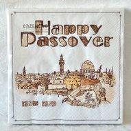 Pesach Servetten met de oude stad Jeruzalem in grappig matze dessin