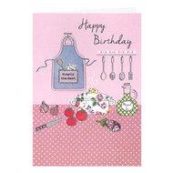 Felicitatiekaart, met Hebreeuws/Engelse tekst en 3D keukenschort voor een verjaardag (vrouw)