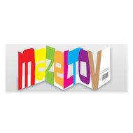 Felicitatiekaart, neutraal met open letters: 'Mazeltov'. Kan voor elke gelegenheid als felicitatiekaart dienen