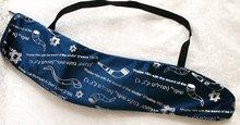 Shofar tas van soepel donkerblauw fluweel met zilverkleurige Hebreeuws/Engelse Bijbelteksten en afbeeldingen