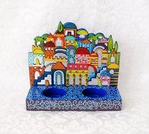 Shabbats kandelaar Jeruzalem van Yair Emanuel handbeschilderd metaal