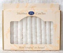 Shabbats kaarsen, kosher en handgemaakt in Safed verpakt per 12 stuks. Wit met sneeuwreliëf