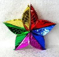 Loofbladeren in stervorm voor de Loofhut in een combinatie van kleurtjes glansfolie