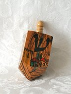 Dreidel, luxe dreidel small van olijfhout, handgemaakt en beschilderd met Jeruzalem decoratie 7 x 2,5 cm