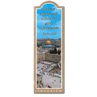 Boekenlegger met een foto van de Westelijke Muur (Kotel) in Jeruzalem en de tekst uit Ps.122:2 Our feet stand within thy gates