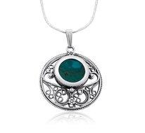 Bijzondere hanger van Filligree zilver met Eilatsteen aan een bijpassende ketting uit de Rafael Jewelry Collectie