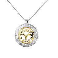 Een prachtige zilver met gouden (9 Kt) Levensboom hanger met de Hebreeuwse tekst uit Psalm 23 aan een bijpassende zilveren kett