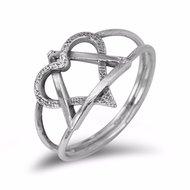 Davidster / Hart Ring, zilveren ring met een dubbele betekenis uit de Rafael Jewelry Collectie