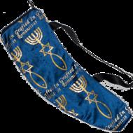 Tas voor Ramshoorn Shofar met het Messiaans Zegel in prachtig donkerblauw fluweel met goudkleurige print