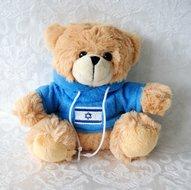 Schattig plush knuffelbeertje in bruin met blauwe hoody en Israelvlag
